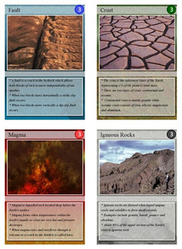 Earth Science & Geology Trading Cards, Bingo/Slideshow and Puzzle Combo