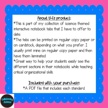 Earth Science Interactive Notebook Tabs **Aligned with NGSS & NSTA**