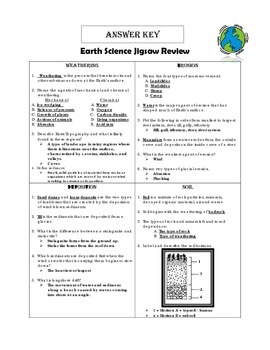 Earth Science Jigsaw Review - Weathering/Erosion/Deposition/Soil