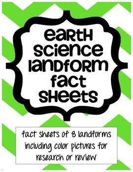 Earth Science Landform Fact Sheets