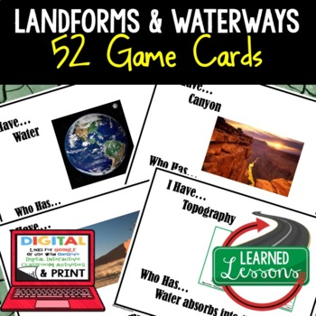 Earth Science Landforms & Topography 52 I Have, Who Has Game Cards