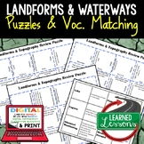 Earth Science Landforms & Topography Review Puzzles Google & Print