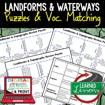 Earth Science Landforms & Topography Review Puzzles