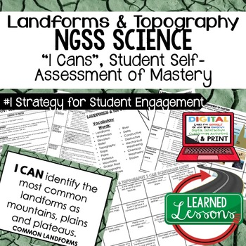 Earth Science Landforms & Topography Student Self-Assessment of Mastery I Cans