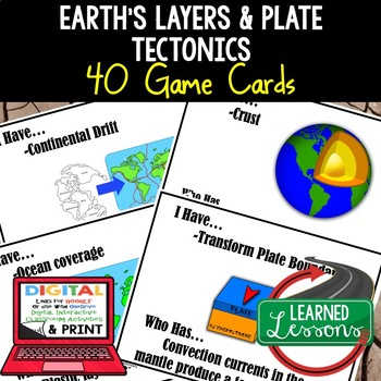 Earth Science Layers & Plate Tectonics 40 I Have, Who Has Game Cards