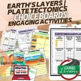 Earth's Layers & Plate Tectonics Activities Choice Board,