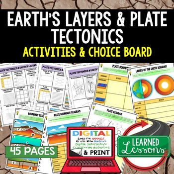 Earth Science Layers and Plate Tectonics Choice Boards & A