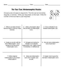 Earth Science - Metamorphic Rock Tic Tac Toe Choice Board