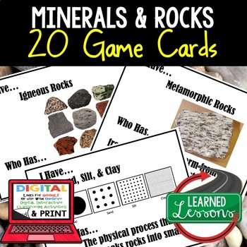 Earth Science Minerals Rocks & Soil Earth's Crust GAME CARDS, TEST PREP