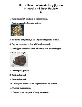 Earth Science Minerals and Rocks Vocabulary Review Activity