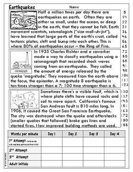 Earth Science Nonfiction Fluency - EARTHQUAKES