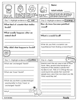 Earth Science Nonfiction Fluency - FOSSILS