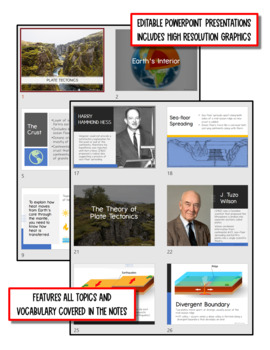 Plate Tectonics: Earth Science Notes, PowerPoint & Chapter Test ~ EDITABLE!