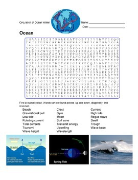 Earth Science - Ocean - Circulation of Ocean Water Wordsearch Puzzle