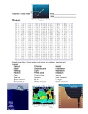 Earth Science - Ocean - Properties of Ocean Water - Wordsearch Puzzle