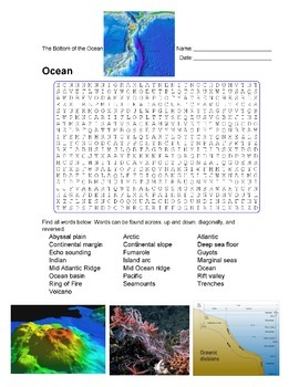 Earth Science - Ocean - The Bottom of the Ocean - Wordsearch Puzzle