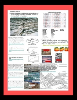 Earth Science Plate Tectonics Part 3 Deformation Mountains Quiz SPED/ELL/OHI