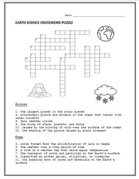 Earth Science Poster Project and Crossword