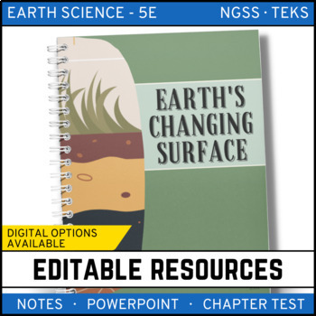 Earth's Changing Surface: Earth Science PowerPoint, Notes & Test ~ EDITABLE!