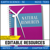 Natural Resources: Earth Science PowerPoint, Notes & Test ~ EDITABLE!