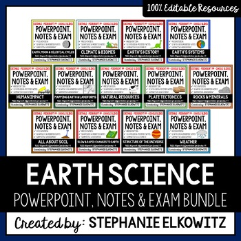 Earth Science PowerPoints, Notes & Exams Bundle