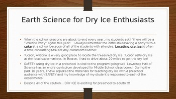 Earth Science Preschool Dry Ice Experiments