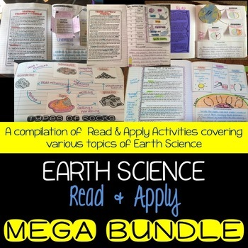 Earth Science Interactive Notebook Read and Apply MEGA BUNDLE