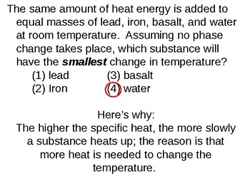 Earth Science Reference Table Flashcards- Specific Heat