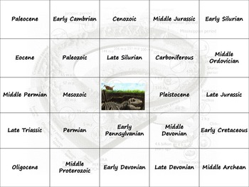 Earth Science Reference Tables - Geological History Bingo