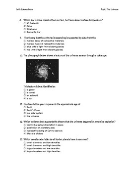 Earth Science Regents Exam The Universe