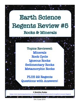Earth Science Regents Review 5 - Rocks & Minerals