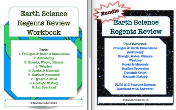 Earth Science Regents Review PACKETS + WORKBOOK *Editable Bundle*