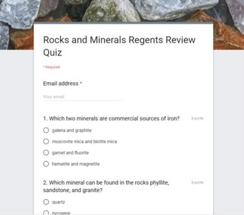 Earth Science Regents Review Quiz for Google Classroom-Rocks & Minerals-NO PREP