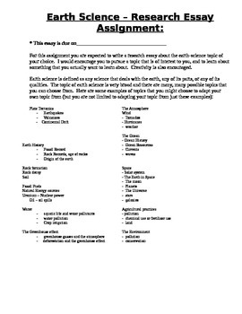 Earth Science Research Essay Assignment
