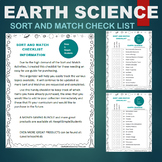 Earth Science Resources - Sort & Match Activities Check List