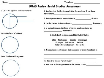 Earth Science Review, Assessment & GA GMAS/ Milestones S.S. Review