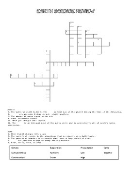 Earth Science Review Puzzle