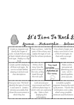 Earth Science: Rock Menu & Resource Page (Mini Books/Org.)