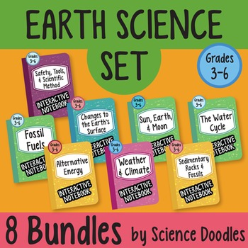 Earth Science Doodle SET of 8 BUNDLES at 25% OFF! EASY to Use Notes