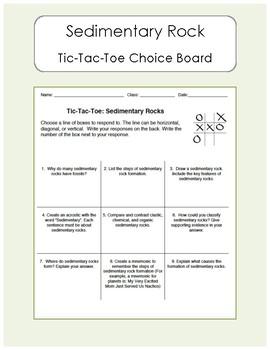 Earth Science - Sedimentary Rock Tic Tac Toe Choice Board