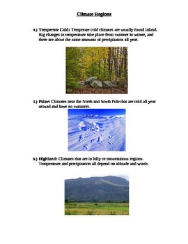 Earth Science Social Studies Climate Regions Graphic Organizer Special Education