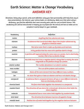 Earth Science States of Matter & Change Vocabulary Page PLUS Answer Key