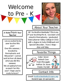 Pre-K Meet the Teacher FREEBIE *Editable*