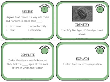 A Trip Through Earth's History: Earth Science Task Cards