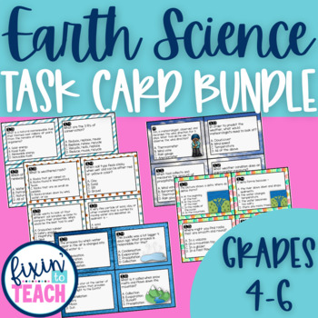 Earth Science Task Cards Bundle {QR Code Answers}