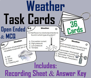 Earth Science Task Cards: Clouds, Fossils, Landforms, Rock Cycle, Weather etc.