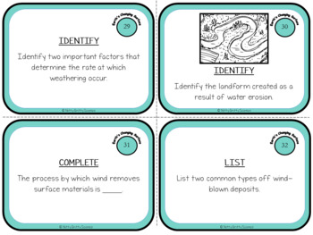 Earth's Changing Surface: Earth Science Task Cards