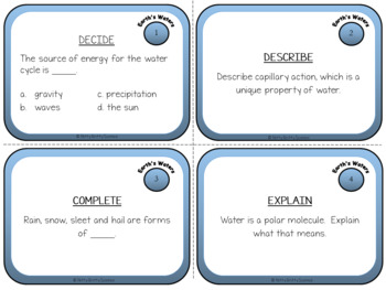 Earth's Waters: Earth Science Task Cards