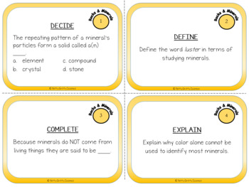 Rocks and Minerals: Earth Science Task Cards