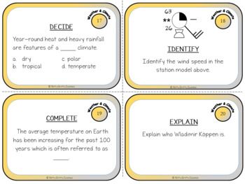 Weather & Climate: Earth Science Task Cards